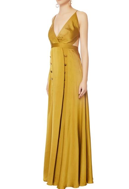 Green halter silk gown
