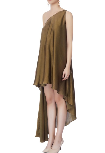 Olive green high low dress
