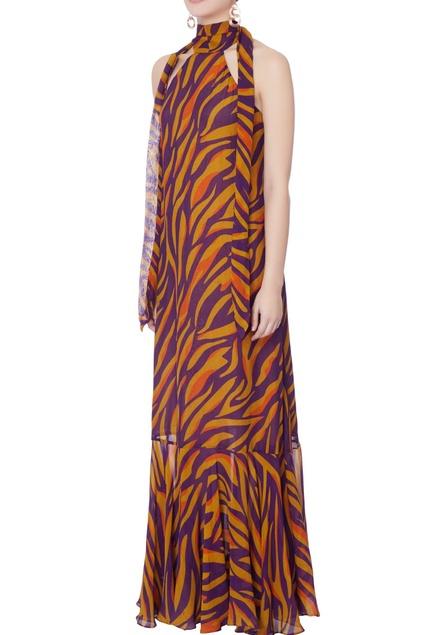 Purple & mustard yellow stripe gown