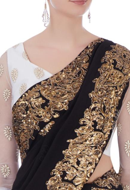 Black georgette sequin embroidered sari & blouse