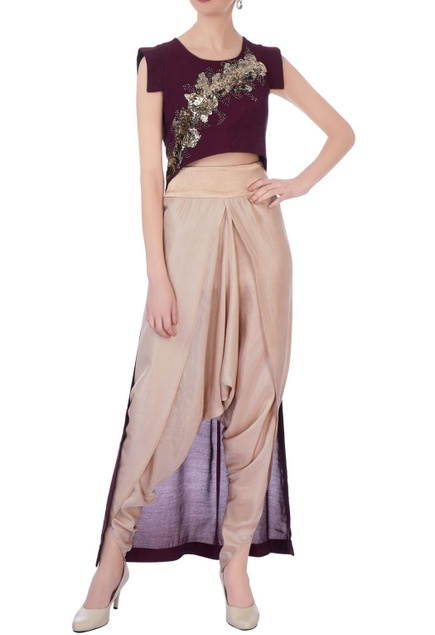 Wine & beige synthetic & silk embroidered cape with dhoti pants