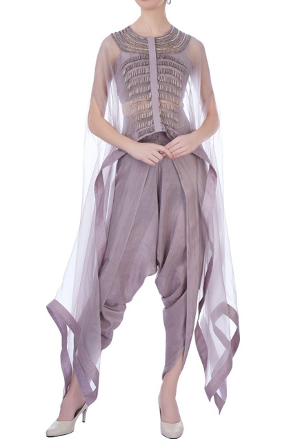 Mauve organza & silk embroidered cape with dhoti pants and bustier