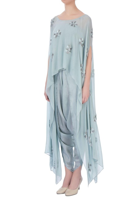 Pale grey georgette & silk embroidered cape with dhoti pants