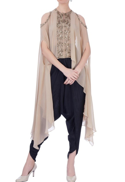 Beige & black georgette & silk embellished cape with dhoti pants