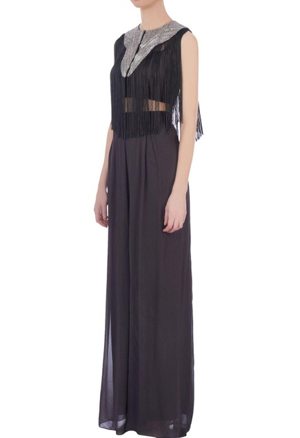 Grey georgette solid palazzo pants & bustier with fringed cape