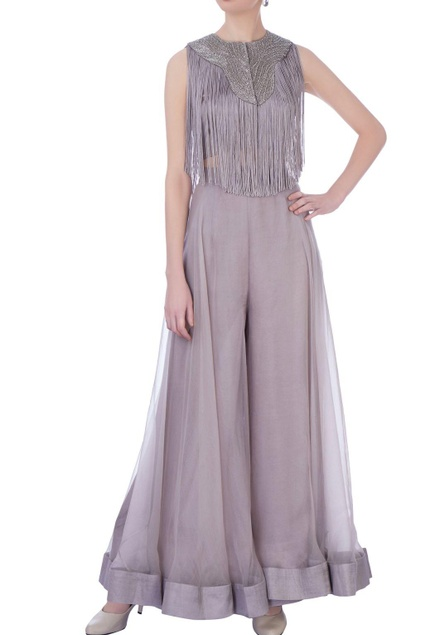 Mauve organza & silk solid palazzo pants & bustier with fringed cape