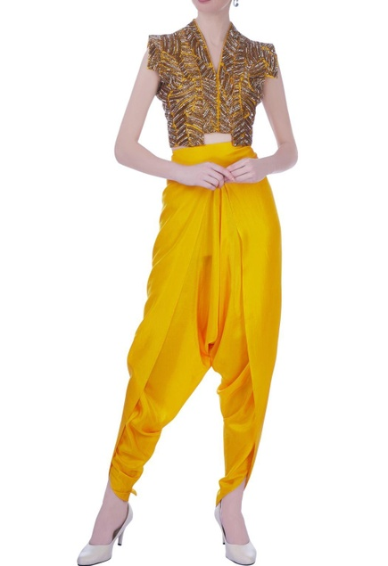 Yellow silk solid dhoti pants & bustier with embroidered jacket