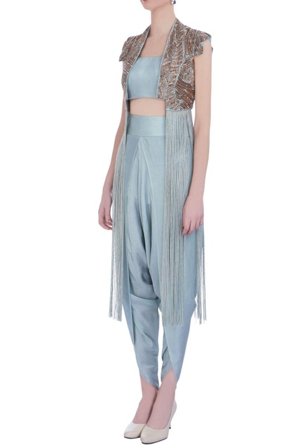 Mint green silk embroidered jacket with dhoti pants & bustier
