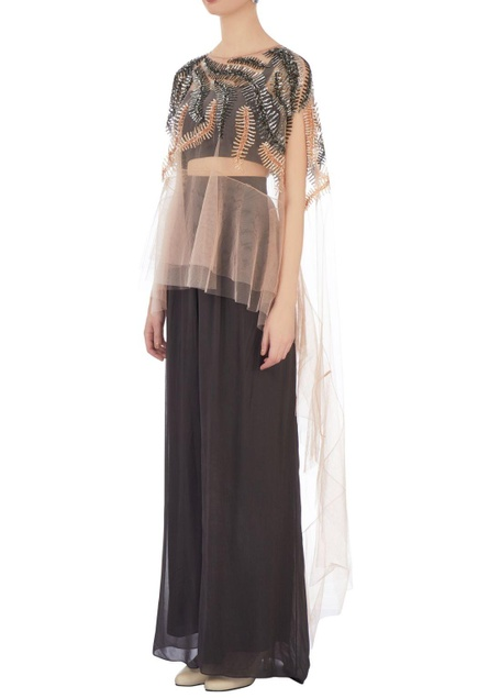Dark grey net & georgette solid dhoti pants & bustier with beige embroidered cape
