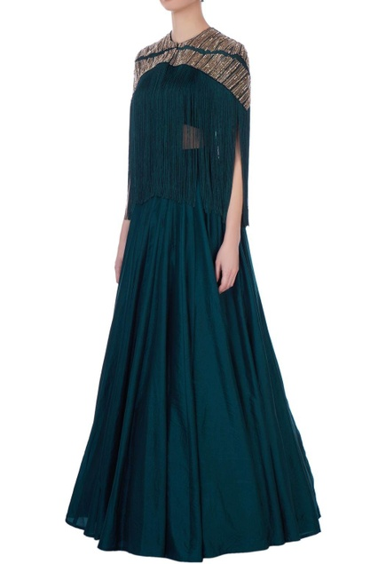 Teal blue silk embroidered cape with solid skirt & bustier