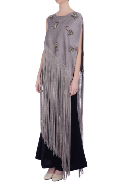Grey georgette & silk embroidered cape with pants