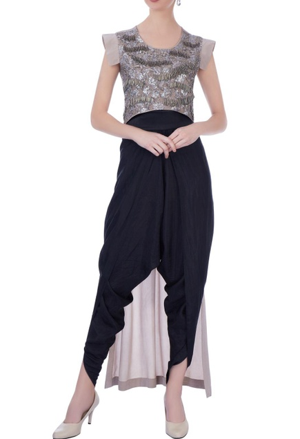 Grey crepe & silk embellished blouse with solid dhoti pants
