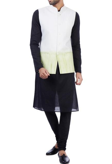 White and green modal cotton tie dye nehru jacket