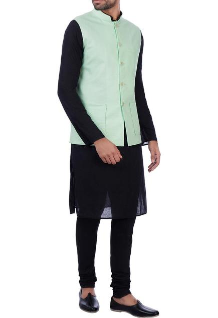 Mint green linen front pocket nehru jacket