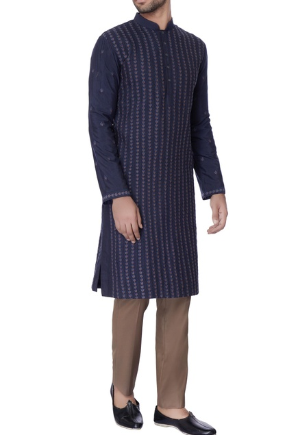 Navy blue resham worn silk kurta