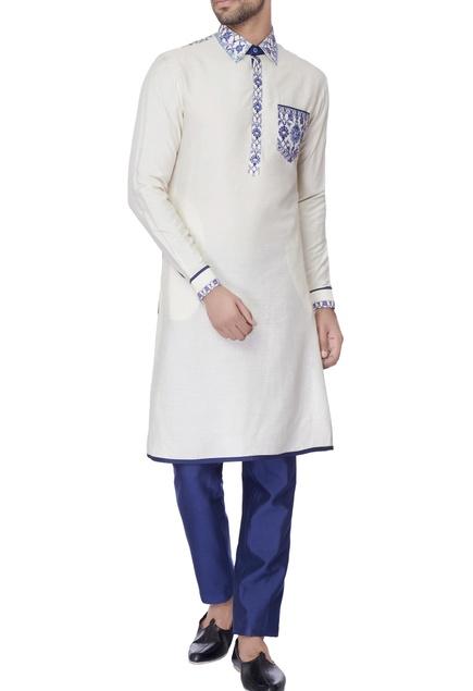 White print silk classic kurta
