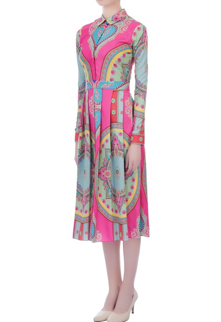 Pink ming crepe printed & pleated dress
