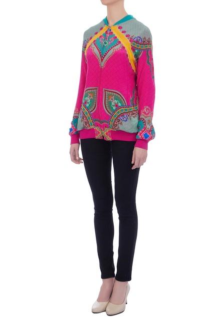 Pink kaleidoscopic bomber jacket