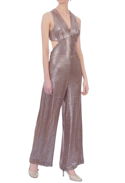 Champagne woven sequin embellished jumpsuit