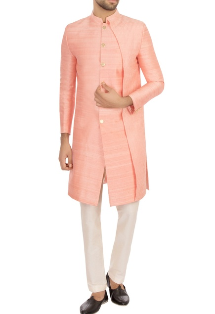 Baby pink raw silk solid kurta