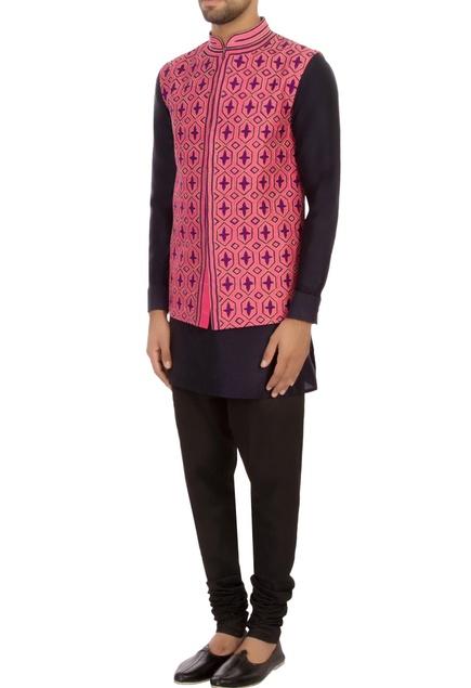 Pink raw silk printed nehru jacket