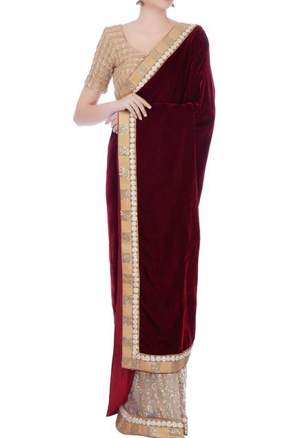 Red & beige velvet, net & cotton silk embroidered sari with blouse