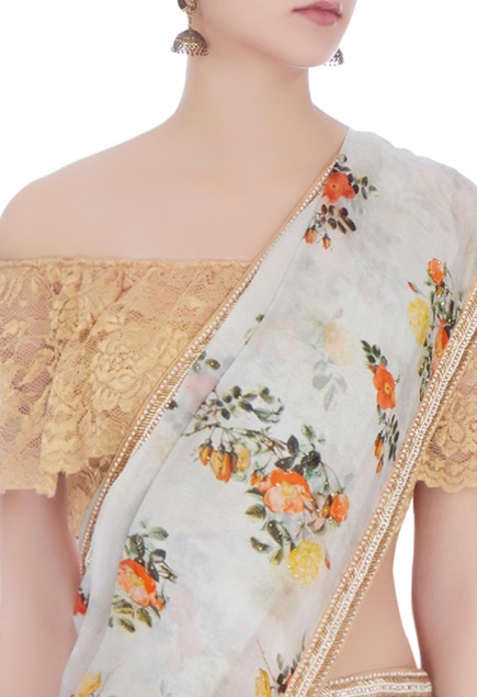 Multi-colored chanderi & cotton silk printed sari with blouse