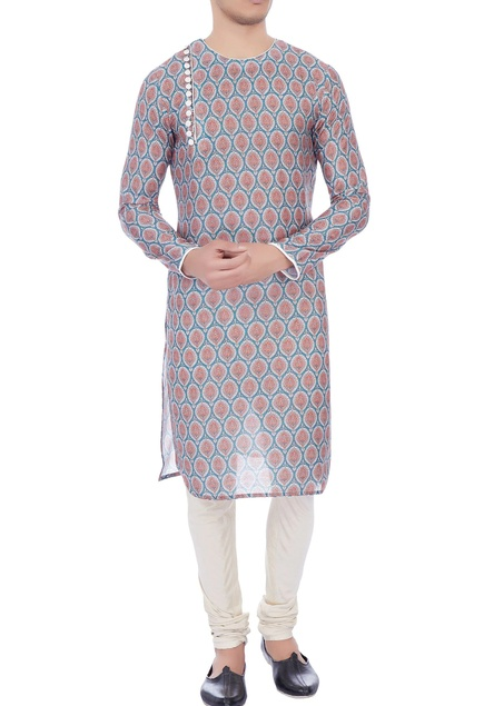 Multicolored printed cotton kurta