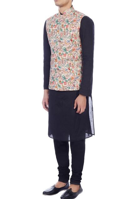 Cream floral  printed cotton pashmina jacket