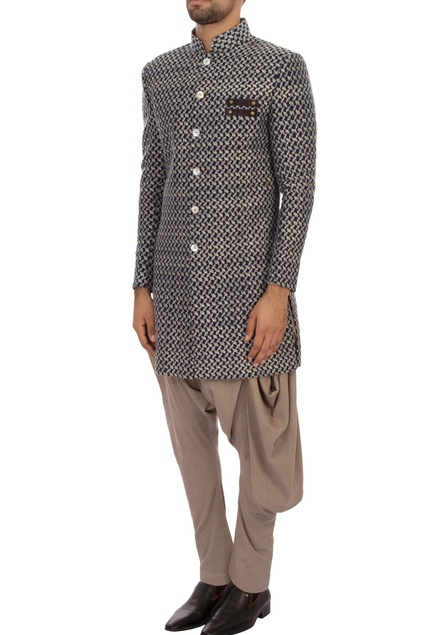 Navy blue embroidered organic cotton sherwani