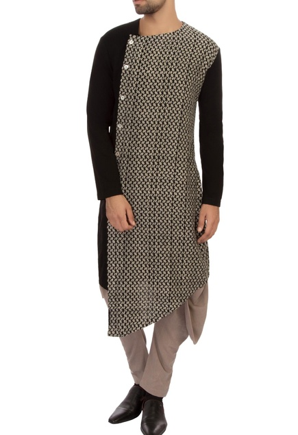 Black organic cotton kurta