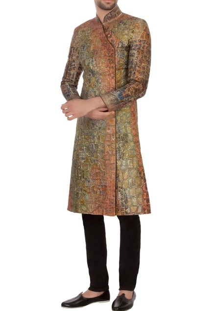 Pista green & rust bengal silk embroidered angrakha kurta set