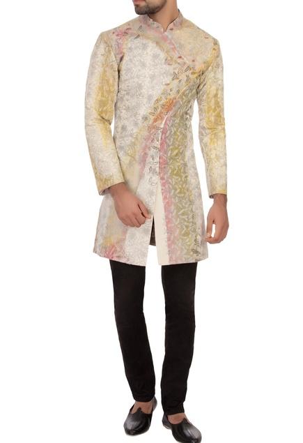 Off white khadi embroidered angrakha kurta set