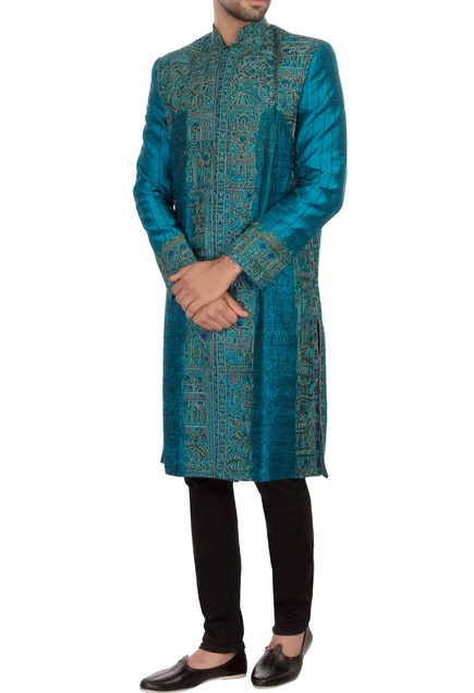 Turquoise raw silk embroidered sherwani set