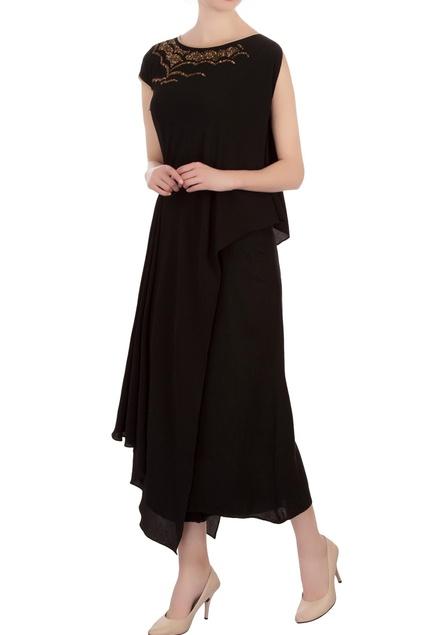 Black georgette embroidered blouse with pants