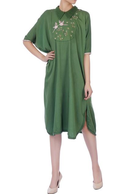 Kale green cotton silk kaftan