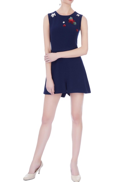 Navy blue moss crepe embroidered jumpsuit