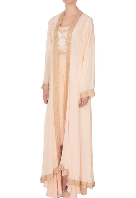Peach corset blouse with crepe pants & kaftan cape