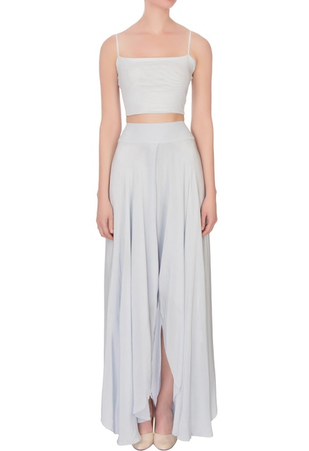 Ice blue crop top with palazzos & cape