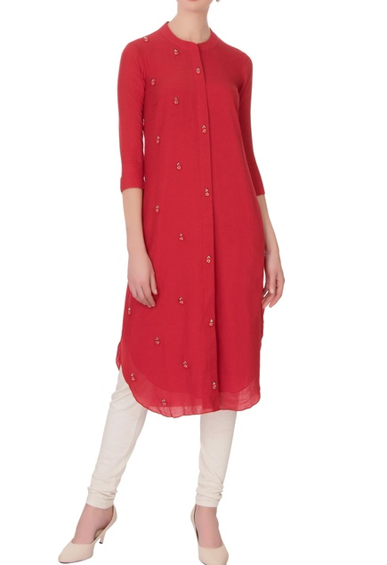 Red georgette silk embroidered kurta