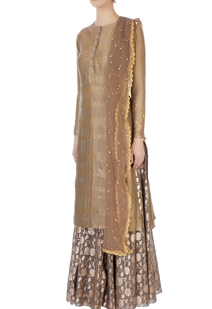 Grey sequin embellished kurta & skirt set