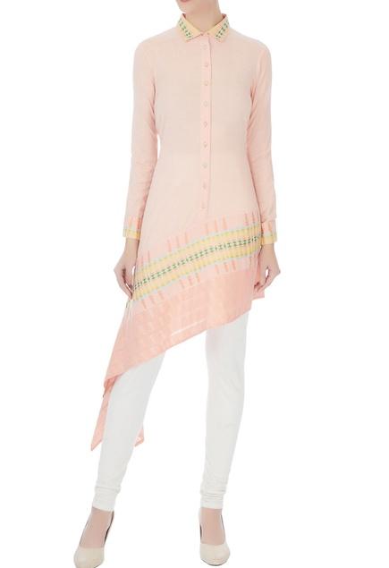 Peach asymmetric shirt collar kurta