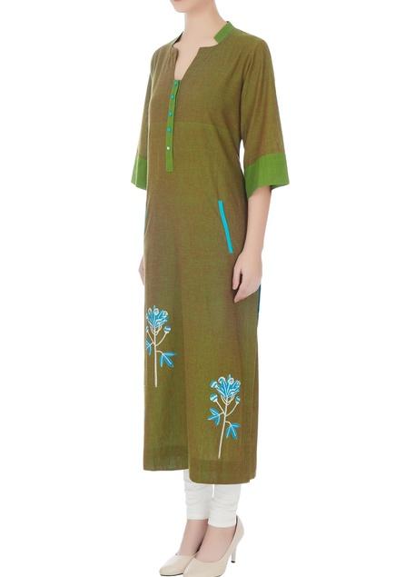 Green hand-block printed long kurta