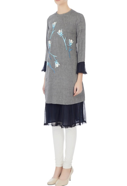 Grey floral embroidered kurta with net frill layer