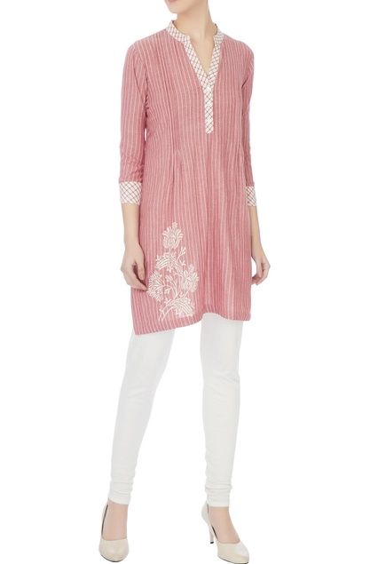 Red striped hand block printed tunic