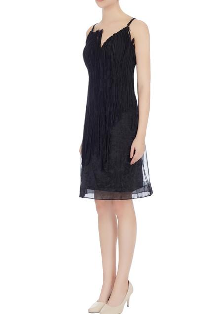 Black deconstructed organdy & linen midi dress