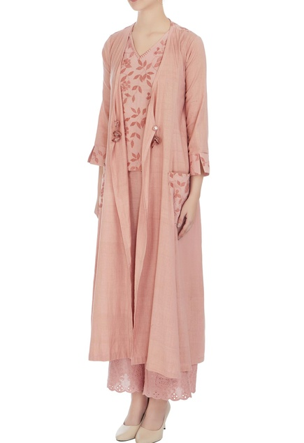 Old rose cotton embroidered long jacket with blouse and pants