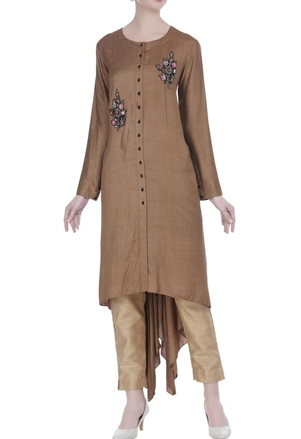 Embroidered tunic with asymmetric hemline