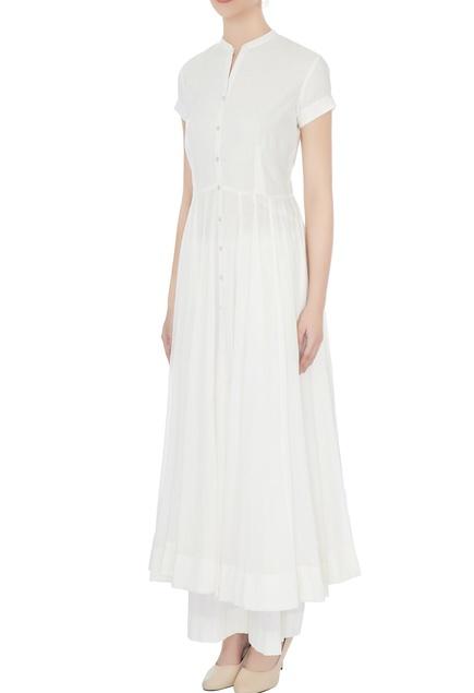 White cotton embroidered anarkali set