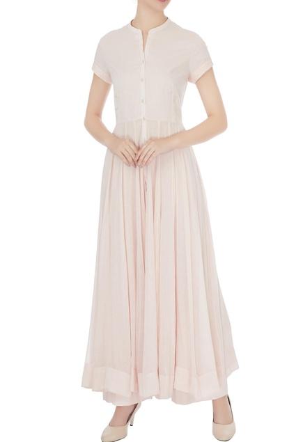 Light pink cotton solid anarkali set